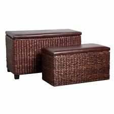 Set of 2 Cattai Leaf/Leather Effect Ottoman Storage for Bedrooms````````````````