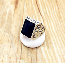 Faceted Onyx Fashion Crystal sz 9 Cocktail Statement Antique Silver Ring Unisex