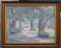 Fine Post-impressionist park scene. Signed and dated 1940.