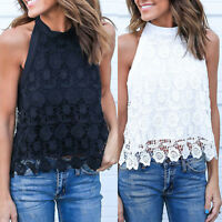Women Lace Vest Bow Knot Sleeveless Backless Casual Blouse Summer Tops T-Shirt