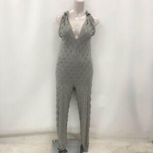 Valentino Missoni Jumpsuit Size UK 12 Grey Plunge Neckline Sleeveless 292580