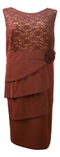 Connected Apparel Women's Tiered Dress Solid Burgundy Sleeveless PLUS SIZE 24W