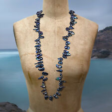 Wild Black Baroque Freshwater Pearl Necklace Genuine Real Fireball Pearls Boho