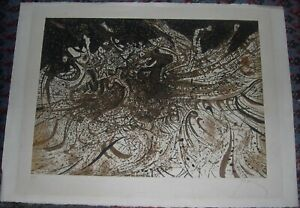 Abstract Etching, Mario Prassinos, Listed Greek/French Artist