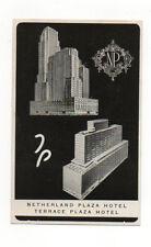 1952 Netherland Plaza & Terrace Plaza Hotels Cincinnati OH Unused Postcard NM