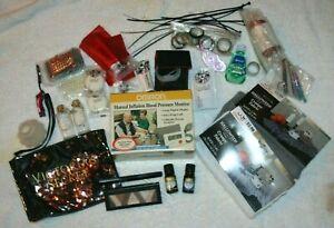 Junk Drawer Lot Blood Pressure Monitor Make Up Victoria's Secret Bag Crafts Tape