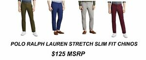 NEW $125 POLO RALPH LAUREN STRETCH SLIM FIT COTTON FLAT FRONT CHINO PANTS