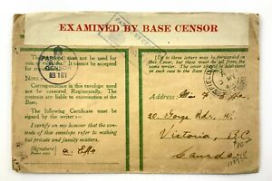 1940 WWII Opened By Examiner Censorship Covers FPO To Victoria BC Canada 472C