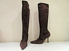 JIMMY CHOO BROWN SUEDE STRETCH LONG HIGH HEEL BOOTS UK 6 EU 39 (3447)