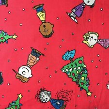 "Cotton Fabric 17""x17""(45x45cm) Remnant Christmas Tree Peanuts Red Green_36"