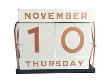 YOFIT Vintage Wooden Block Perpetual Calendar Desk Accessory Shabby Rustic Chic