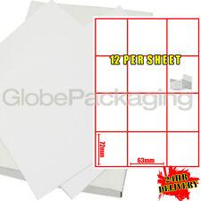 200 Hojas De Impresora dirección Etiquetas de Laser de 12 por página