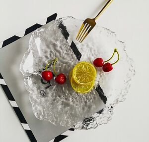 CUPIDO Ice Clear Glass Side / Salad / Dinner Plate 25 CM