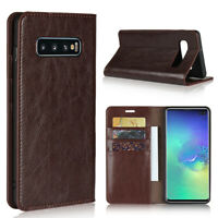 Luxury Genuine Leather Wallet Flip Case Cover For Samsung Galaxy S10 Plus S10E
