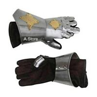 Medieval Knight Crusader Spartan Gauntlet Gloves Armor Pair w/ Brass Accents