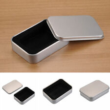 Silver Metal Tin Storage Box Case Gifts Key Rings Small Items Cufflinks Tie Clip