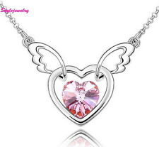 18k White Gold Plated Pink Crystal Love Heart Angle Wing Necklace N59