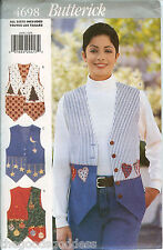 4698 Butterick Misses APPLIQUE VESTS Hearts Xmas Sewing Pattern UNCUT embroidery