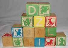 Walt Disney Wood Building Blocks 15 pcs Toys Wooden Vtg Alphabet