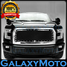 15-16 Ford F150 Chrome Front Hood Rivet Studded+Black Mesh Grille+Complete Shell