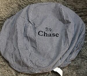 NEW Pottery Barn Kids Anywhere Beanbag Chair Cover Navy Gingham Zip Mono CHASE