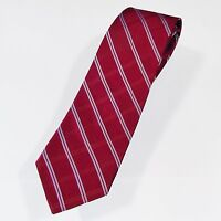 Mens Neck Tie Tommy Hilfiger Classic Wine Red White Diagonal Stripes Made in USA
