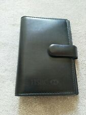 HSBC Black Faux Leather A5 magnetic organiser, folio, filofax cheque book NEW