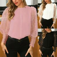 Fashion Women Puff Long Sleeve T-shirt Tops Shirts See-through Sheer Mesh Blouse