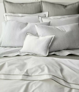 Ralph Lauren Spencer Border  Sateen Full/Queen Comforter White/Grey MSRP $385