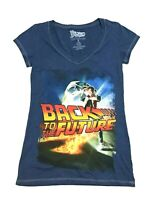 Back To The Future Graphic Tee Shirt Top Womens Sz S Sm Blue Retro Marty McFly