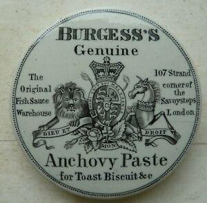 Victorian BURGESS'S ANCHOVY PASTE pot lid C 1890s.
