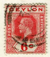 CEYLON;  1912-25 early GV issue fine used 6c. value