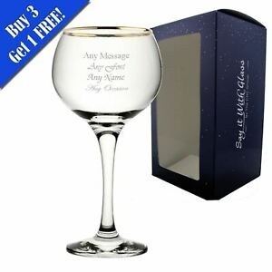 Personalised Engraved Ambassador Gold Rim Gin Balloon 19.7oz Glass - Gift