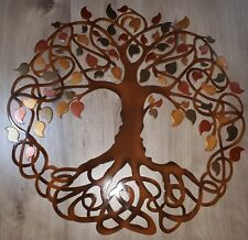 "Tree of Life, Metallic Leaves, Celtic Design, Metal Art, 23.5"", Wall Decor"
