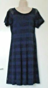 M&S Collection Navy Blue  LIned Polyester/Viscose  Short Sleeved Dress Size12