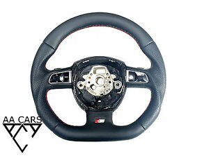 Steering Wheel AUDI A4 A5 A6 A8 Q7 S-Line Flat Bottom Leather Paddles