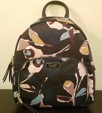 Kate Spade Dawn Paper Rose Black Multi Color Medium Nylon Backpack