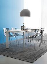 Calligaris Connubia Tisch BARON 4010 MV 130cm Gestell satiniert Platte Glas weiß