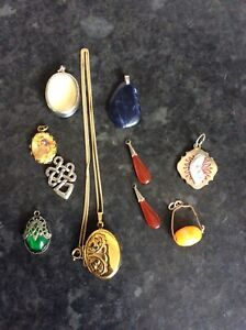 Superb Lot Of Vintage Gold/Silver Tone Jewellery Necklace,pendants,Locket Fobs