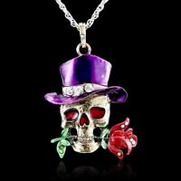 Retro Crystal Skull Rose Flower Pendant Necklace Sweater Silver Chain Party Gift