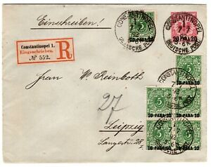 1892 German Offices in Turkey Cover Registered Constantinople - Leipzig 7 Stamps