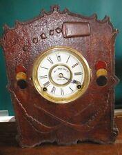Incredible 1900 era 8 DAY Pyrography Mantle Clock GAMBLING  Dice Cards Chips