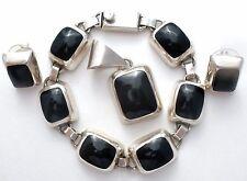Mexican Sterling Silver Black Onyx Set Bracelet Earrings & Pendant Vintage 925