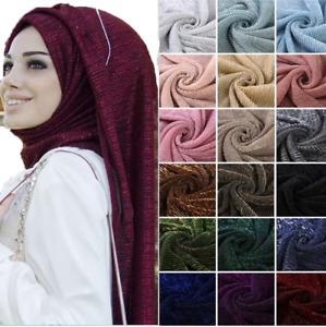 Plain Colour Shiny Shimmer Glitter Sparkly Scarf Hijab Shawl Wrap Wedding