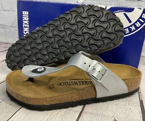 Birkenstock Women's Gizeh Birko-Flor Metallic Silver Sandals Regular Fit Size 5