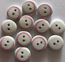 12 Baseball Balls Wood Buttons -13mm- Sewing,Craft,Scrapbooking,Quilting