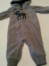 Baby boy grey hooded long sleeved fleece outfit moose 6 months size