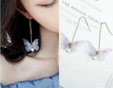 FAIRY BUTTERFLY WING PEARL DANGLE CHAIN EARRINGS