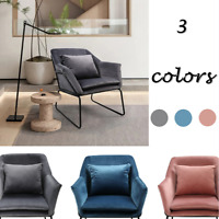 Single Accent Arm Leisure Upholstered Sofa Chair Lounge Chair with Pillow Velvet