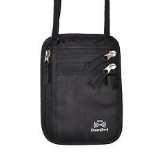 EasyJoy Travel Neck Pouch Passport Bag with RFID BlockingBlack